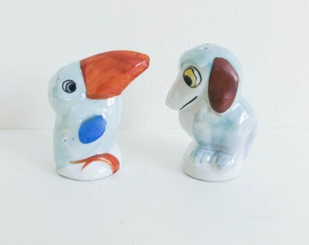 1930's Tiny Baby Animal Salt and Pepper Shakers - Comical Puppy Dog and Toucan Bird Figurines - Blue Nursery Decor - Birthday Cake Toppers