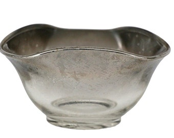 Vintage Silver Ombre Ruffled Glass Bowl