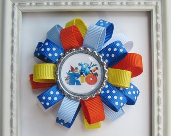 Disney Rio Inspired Loopy Hair Bow - Royal Blue, Lite Blue, Orange, Yellow & White - Unique Gift or Birthday Party Favor