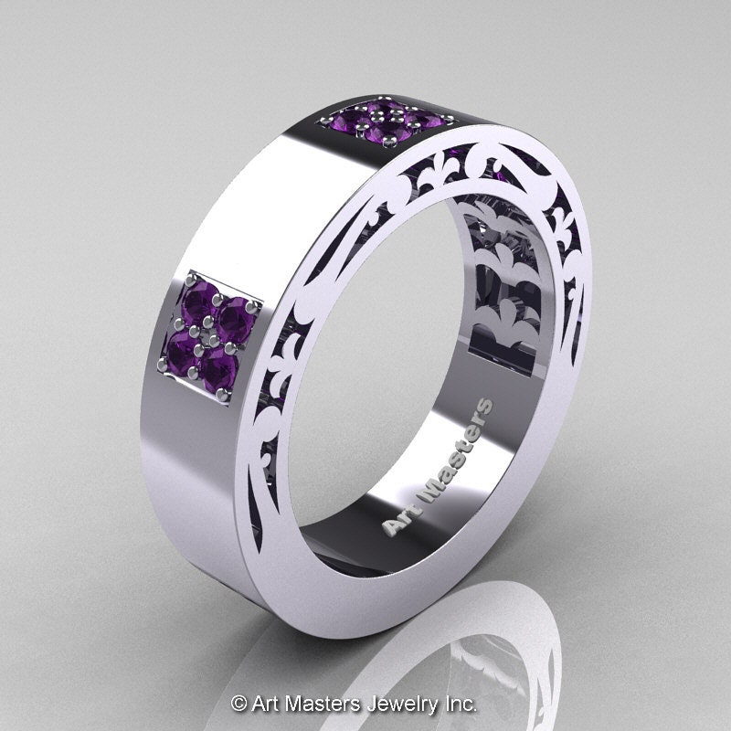 Mens Modern Vintage 14K White Gold Amethyst Wedding By Artmasters