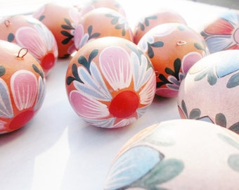 vintage Handmade clay ornaments Hand painted balls flowers decor