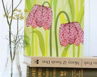 Purple Frittilaria Woodland Card - birthday, blank, notelet