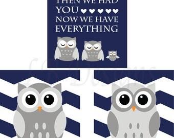 Navy Blue and Gray Owl Nursery Prints, Woodland Nursery Decor - Three 8x10s