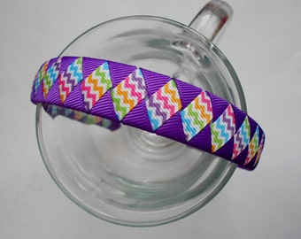 Purple Chevron Woven Headband