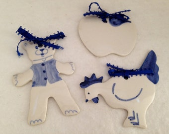Trio of  Vintage Glazed Blue and White Ornaments