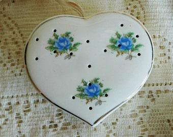 ADDITIONAL 10% OFF...SALE Vintage Heart Shaped Closet Hanging Pomander Sachet Blue Flowers