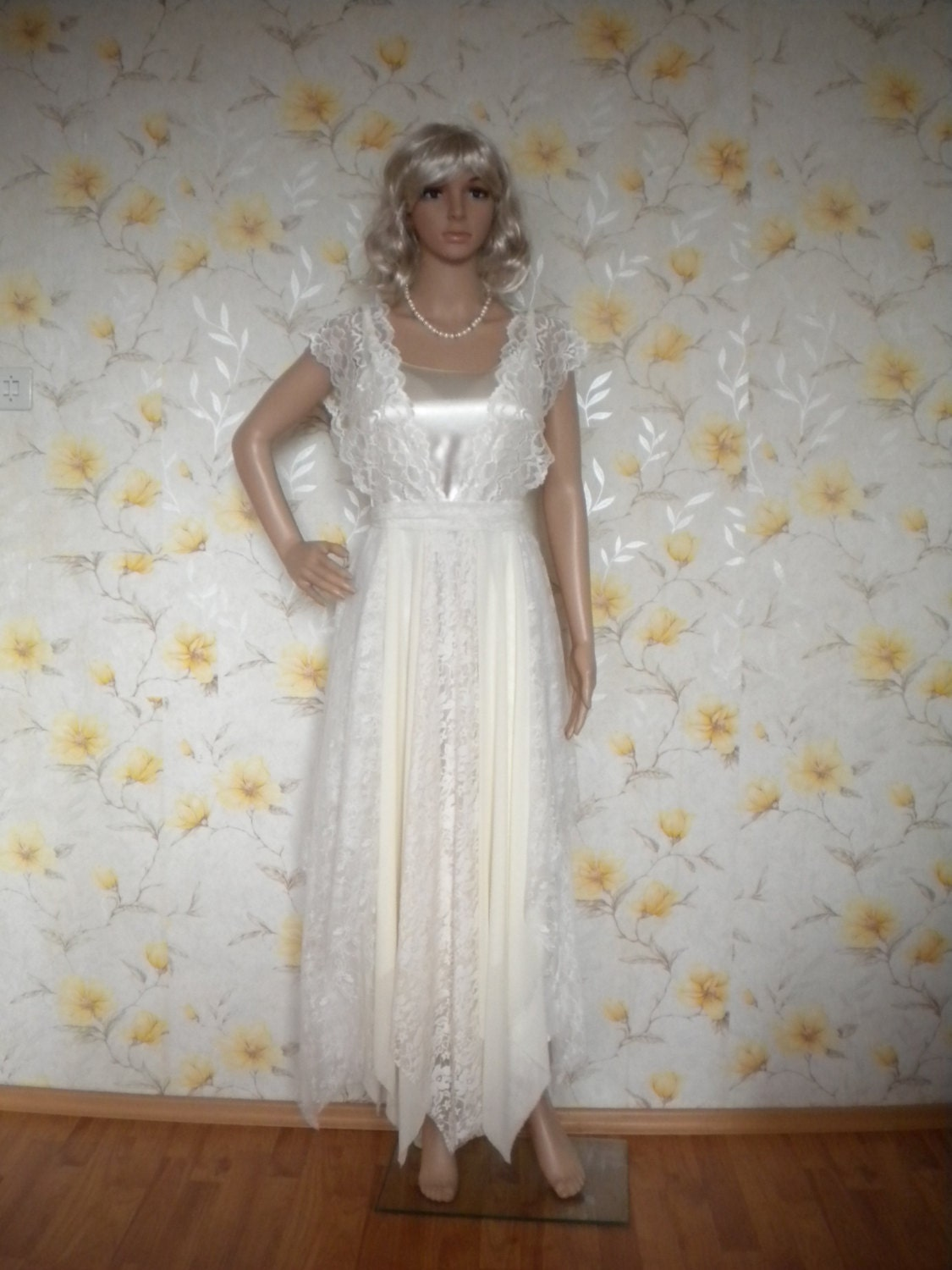 mori girl bohemian beach garden wedding dress romantic fairy made to order