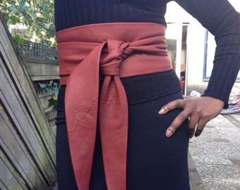 X-Long Ox-blood leather obi belt, waist cincher, ceinture, girdle, female belt, corset belt