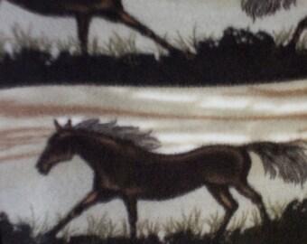 Running Horse Print Anti Pill  Fleece Fabric by the yard