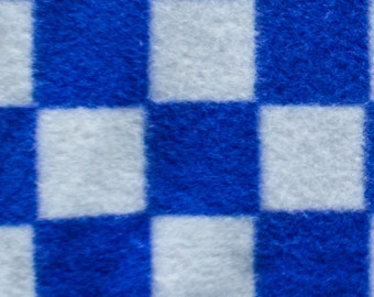 Blue and White Checkers  Print Fleece Fabric by the yard