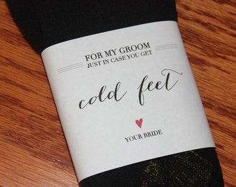 Just in case you get cold feet sock label wrapper - Groom - White - INSTANT DOWNLOAD DIGITALFILE