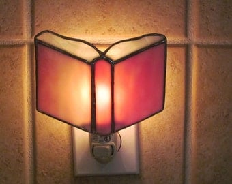 Prayer Book Stained Glass Night Light - Pink and White Swirl Opalescent Glass - Authentic Stained Glass