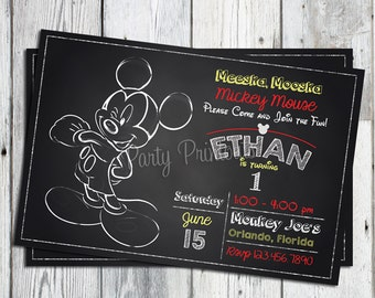 Mickey Mouse Invitation, Mickey Mouse 1st Birthday Invitation, Mickey Mouse Invitation Printable, Mickey Mouse Birthday Invites, Printable