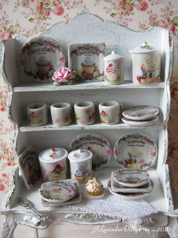 shabby cupcake kitchen canisters for dollhouse 1 12 scale