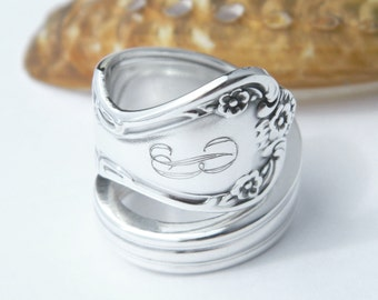 Personalized Silver Spoon Ring  - Daybreak aka Elegant Lady 1952 Monogrammed Ring