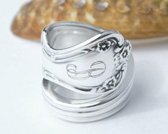 Personalized Silver Spoon Ring  - Daybreak aka Elegant Lady 1952 Monogrammed Ring