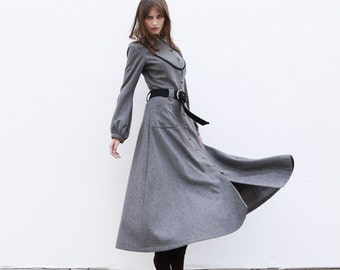 ON SALE XXL Winter Coat Dark Grey Coat Long Wool Coat  Winter Jacket Long Sleeve Coat- NC202-2