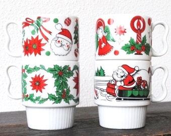 Mod Christmas Mug Cup Set, Cheery Stacking Coffee Mugs Made in Japan, Four (4)