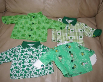 4 St. Patrick shirts for boy or girl 18 inch doll