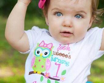 Birthday Onesie, Applique Owl with Name & Age