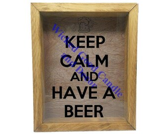 "Wooden Shadow Box Wine Cork/Bottle Cap Holder 9""x11"" - Keep calm and have a beer with mug"