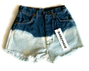 "Waist 25.5"" High Waisted Ombre Vintage Cutoff Shorts"
