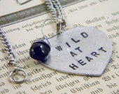 Stamped WILD AT HEART Black Glass Heart Briolette Charm Necklace Valentine's Day Graduation Gift