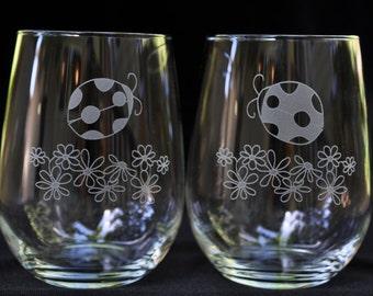 Ladybug Stemless Wine Glass Set of 2 | Optional Personalization | 16oz or 21oz Fine Rimmed Glasses