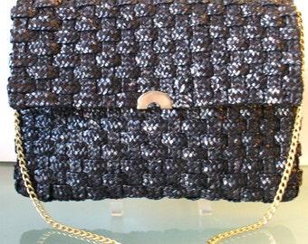 Vintage Woven Straw Envelope Style Shoulder Bag