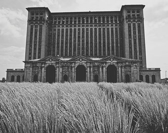 Michigan Central Station - New Vintage Photograph - Black and White