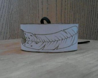 SALE Off White Burned Eagle Feather Leather Cuff - Made in America Native American - Elusive Wolf