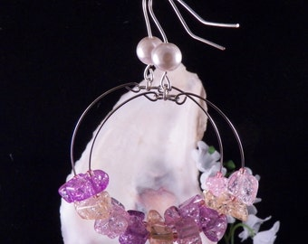 Pink Hoop Earrings - Pink Sparkly Earrings - Memory Wire Earrings - Pink Shining Earring - Shimmering Earrings - Handmade Costume Jewelry