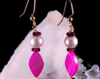 Pink Earrings - Mother of Pearl Shell Earrings - Glass Beaded Earrings - Pink Dangling Earrings - Handmade Costume Jewelry - Free Shipping