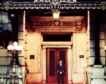 New York Photograph, Fine Art, Red & Black, Moody, Manhatten, Luxury, Dorm Decor,Red Carpet, Red Door, Elegant, Gold, The Plaza, Eloise
