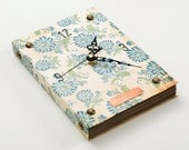 Book Wall Clock -Blue Flowers- vintage inspired, copper and nails