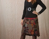 Knit, high-low, skirt, vintage, funky, paisley~Mess of Me (skirt)