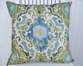 Blue Green Ikat Pillow Cover--Duralee Throw Pillow Custom Sizes Designer Pillow Blue, Cream Duralee