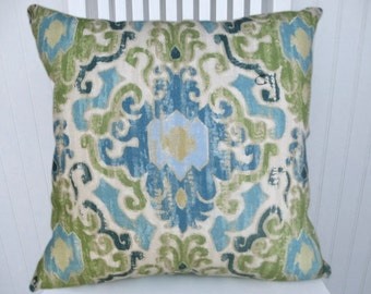 Blue Green Ikat Pillow Cover--Duralee Throw Pillow Custom Sizes Designer Pillow Blue, Cream Duralee