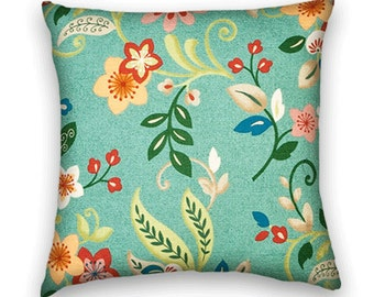 Aqua Decorative Pillow Cover--Accent Pillow Cover-- Floral CottonThrow Pillow--Aqua, Pink, Green, Blue, Beige.