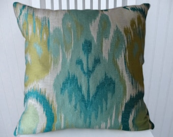 Aqua Green Ikat Decorative Pillow Cover- 18x18 20x20 or 22x22- Throw Pillow- Accent Pillows.