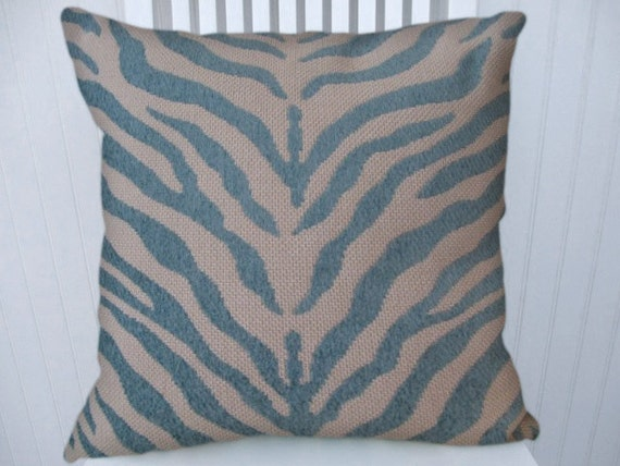 Turquoise Zebra  Pillow Cover-- 18x18 or 20x20 or 22x22--Duralee Decorative Zebra Throw Pillow-- Accent Pillow