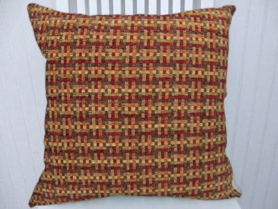Brick Red, Orange, Chenille Pillow Cover--18x18 or 20x20 or 22x22--Basket Weave-Accent Pillow Throw Pillow--Red,Green,Rust,Gold