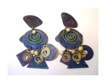 Vintage Retro Geometric Metal Drop Earrings -  1980's Hand Crafted - Blue, Teal, Brass