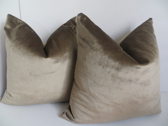 Velvet Pillow Covers Taupe Decorative Pillow Accent Pillow