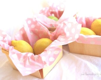 50 Pink With white Dot WAX PAPER sheets-Pink Lemonade party shop EXCLUSIVE-basket liners-food safe