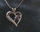 10KT Solid Gold Vintage Pendent with Stones & 14k necklace