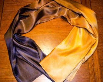 Belly Dance Gold Black Ombre Silk Veil 8 mm IN STOCK