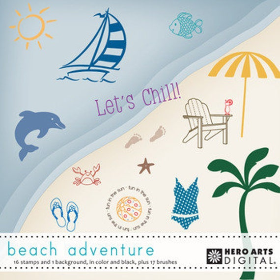 Instant Downlaod Hero Arts DK039 Beach Adventure Digital Kit digi
