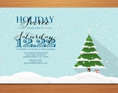 Snowy Tree /  Christmas Party DIY Customized Printable Party Invitations