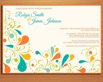 Summer Floral Swirl Wedding Invitation PRINTABLE / DIY